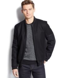 Calvin Klein Wool-blend Colorblocked Baseball Jacket - Lyst