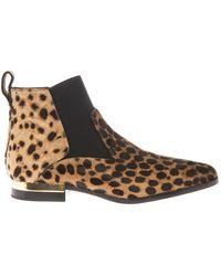 Chloé Leopardprint Calfhair Ankle Boots - Lyst