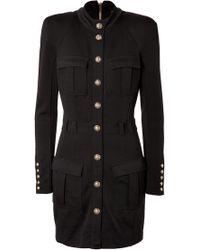 Balmain Wool Safari Dress - Lyst