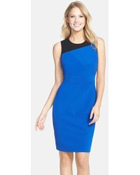 Adrianna Papell Colorblock Stretch Sheath Dress - Lyst