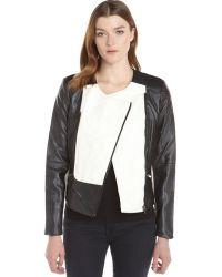Ellen Tracy Black And Creme Faux Leather Colorblock Moto Jacket - Lyst
