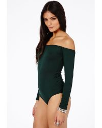 Missguided Dominica Value Bardot Bodysuit in Deep Green - Lyst