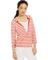 Tommy Hilfiger Drawstring Striped Hoodie red - Lyst