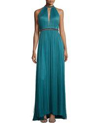 Catherine Deane Bead-Trim Plisse Silk Gown - Lyst