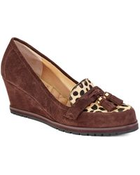 Isaac Mizrahi New York Leather Loafer-Style Wedges - Brown