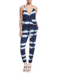 Young Fabulous & Broke Kenzie Tie-dye Slim-leg Jumpsuit - Blue