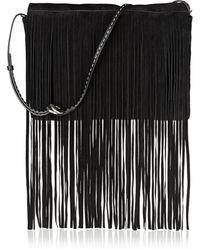 Michael Kors Joni Fringed Suede Clutch - Lyst
