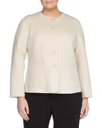 Lafayette 148 New York Doubleface Twill Jacket Alabaster - Lyst