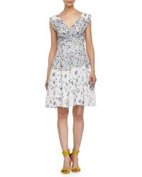 Betsey Johnson Floral-Printed Lace Tea Dress - Lyst