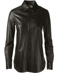 Saint Laurent Signature Yves Collar Shirt in Black Leather - Lyst