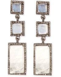 Siena Jewelry - Moonstone Diamond Drop Earrings - Lyst