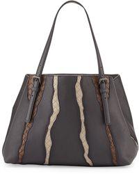 Bottega Veneta Woven-Inset Leather Tote Bag - Lyst