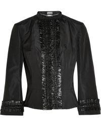 Alexander McQueen Ruffled Satintrimmed Silkfaille Jacket - Lyst