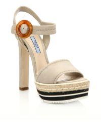 Prada | Microsole Suede Platform Sandals | Lyst