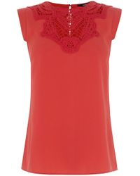 Oasis Lace Trim Crepe Top - Lyst