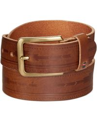 Tommy Hilfiger Serape Deep-Embossed Panel Brown Belt - Lyst