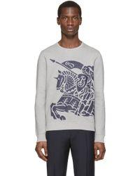 Burberry Brit - Grey Flocked Logo Sweatshirt - Lyst