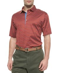 Peter Millar Thin-striped Cotton Polo Shirt - Lyst