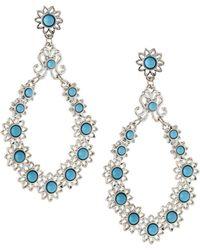 R.j. Graziano Cabochon Open-teardrop Earrings - Blue
