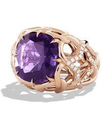 David Yurman Venetian Quatrefoil Ring with Amethyst and Diamonds in Rose Gold - Lyst