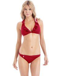 Ralph Lauren Blue Label Ruffle Halter Bikini Swim Top - Red