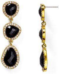 T Tahari - Pave Stone Drop Earrings - Lyst