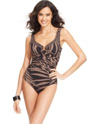 Miraclesuit Printed Draped One-Piece Swimsuit - Lyst