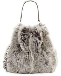 Ralph Lauren Shearling Fur Bucket Bag - Metallic
