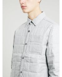 Topman Grey Quilted Long Sleeve Overshirt - Lyst