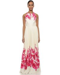 Lela Rose Floral Halter Gown - Peony pink - Lyst