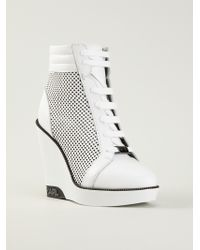 Karl Lagerfeld Perforated High Wedge Sneaker Boot - White