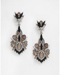Little Mistress Black Stone Drop Earrings - Metallic