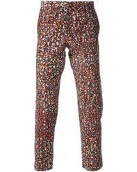 Dent De Man - Floral Print Slim Trousers - Lyst
