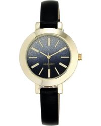 Nine West Goldtone And Black Leather Strap Watch