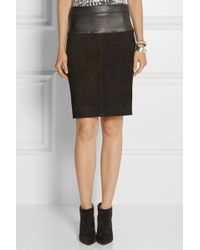Narciso Rodriguez Leathertrimmed Suede Pencil Skirt - Lyst