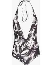 Mikoh Swimwear Palm Tree Print Halter Swimsuit - Lyst