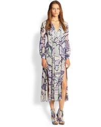 Burberry Prorsum Floral Silk Dress - Multicolor