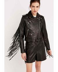 Hide - Biker Jacket With Fringe In Black - Lyst