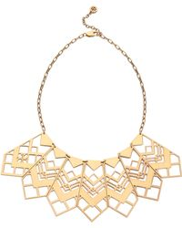 Tory Burch Chevron Short Necklace Aged Gold - Lyst