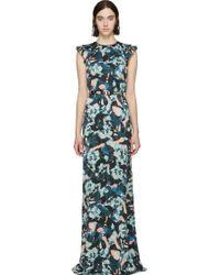 Erdem Green And Blue Silk Rylie Dress - Lyst