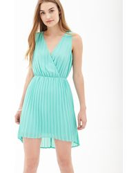 Forever 21 Pleated Chiffon Dress In Green Lyst