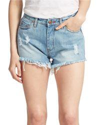 Sl8 Americana Distressed Denim Shorts - Blue