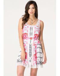 Bebe Lace Trim Pleated Dress - Lyst