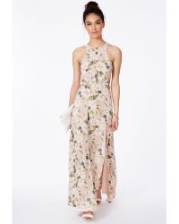 Missguided Editha Cut Out Split Maxi Dress In Floral Print - Lyst
