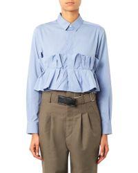 Toga Archives Accordionruffle Cropped Cotton Shirt - Lyst