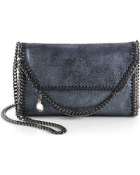 Stella McCartney Falabella Pearlescent Faux-Leather Fold-Over Clutch - Lyst