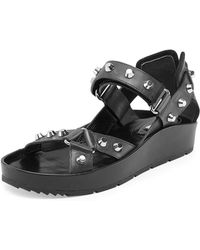 Balenciaga Studded Flat Leather Sandal - Lyst