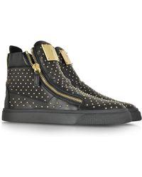 Giuseppe Zanotti London Black Leather High Top Studded Sneaker - Lyst