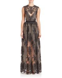 ABS By Allen Schwartz Embroidered Lace Gown - Black