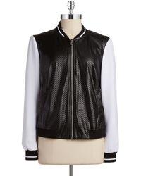 Jones New York Faux Leather Varsity Jacket black - Lyst